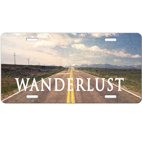 Wanderlust Open Road Travel Wanderlust Highway License Plate - Car Tag Vanity Plate