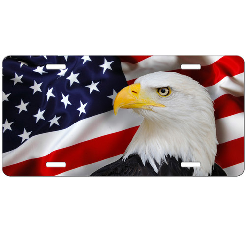 Eagle American Flag License Plate Patriotic USA Car Tag Vanity Plate