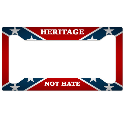 Confederate Flag License Plate Frame - Heritage Not Hate Ver 2