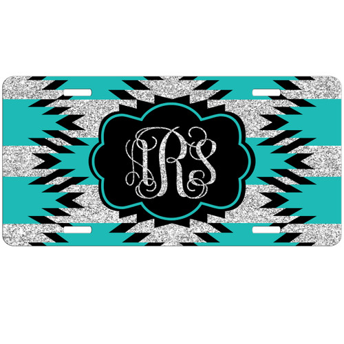 Monogrammed Car Tag - Aztec Teal Black Silver Glitter