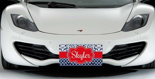 Monogrammed Car Tag - Navy Damask Lattice Red Accent