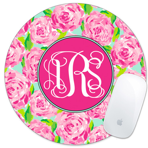 Monogrammed Mouse Pad Pink Roses
