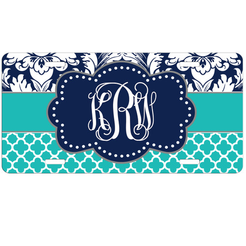 Monogrammed Car Tag - Navy Damask Teal Quatrefoil