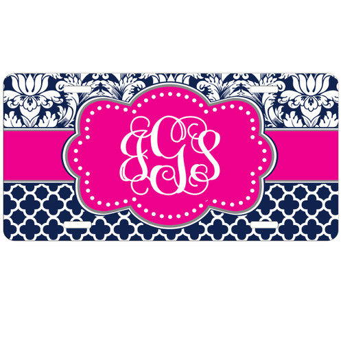 Monogrammed Car Tag - Navy Damask Quatrefoil Hot Pink