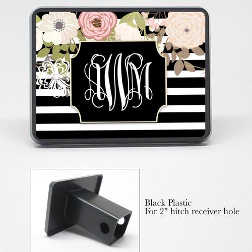 Monogrammed Car Tag - Vintage Floral Black Stripes