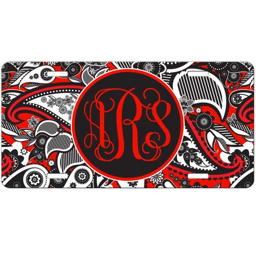 Monogrammed Car Tag - Red Black Paisley