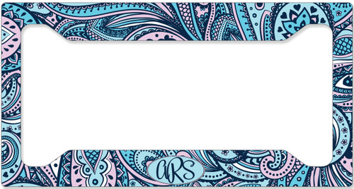 Monogrammed Car Tag - Blue Pink Paisley