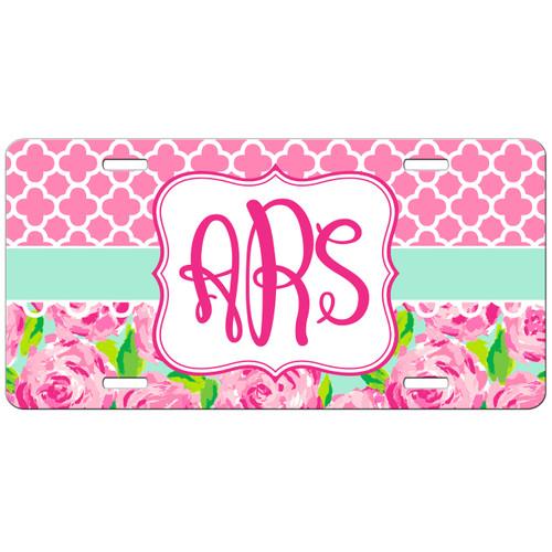 Monogrammed Car Tag Pink Roses Lattice License Plate