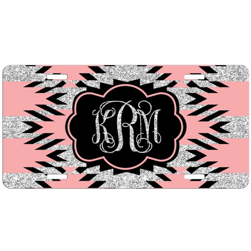 Monogrammed Car Tag Aztec Pink Black Silver Glitter