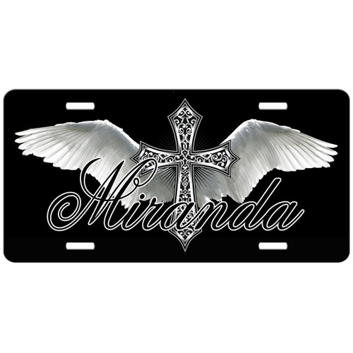 Monogrammed Car Tag Cross Angel Wings Black License Plate