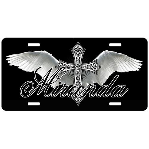 Monogrammed Car Tag Cross Angel Wings Black License Plate
