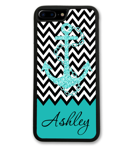Anchor Chevrons iPhone Case - Glitter Like Anchor Monogrammed