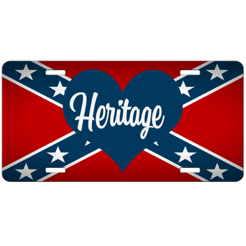 Confederate Flag License Plate Heritage Heart Car Tag Front License Plate