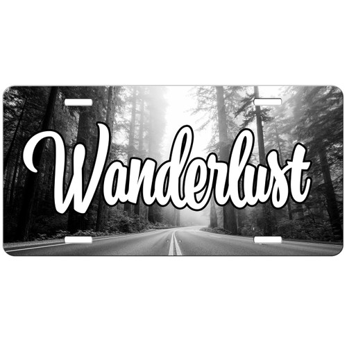 Wanderlust Open Road Highway Forest Travel Wanderlust Trees License Plate - Car Tag Vanity Plate