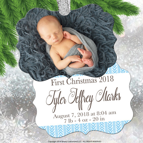 Personalized Ornament - Photo Ornament - Baby's First Ornament - Blue Baby Birth
