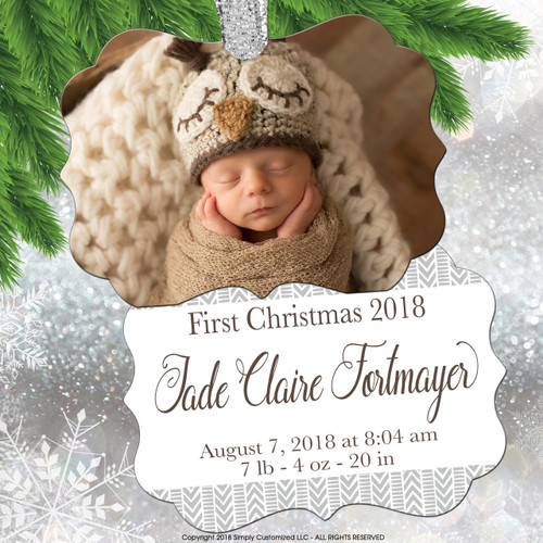 Personalized Ornament - Photo Ornament - Baby's First Ornament - Neutral Grey Customized Baby Birth