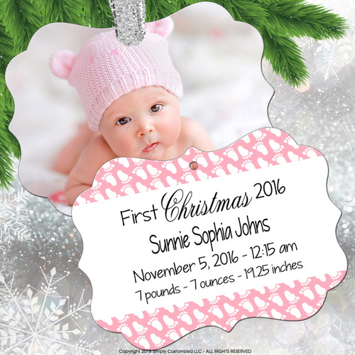 Keepsake Ornament Baby Girl - Photo Birth Stats - Pink Feet Footprints Pattern - Double Sided Aluminum