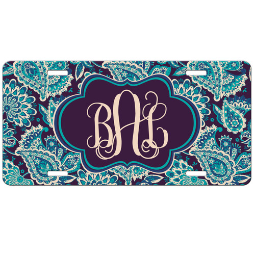 Teal Paisley Front License Plate, Custom License Plate, Personalized License Plate