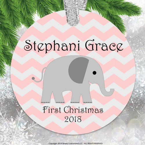 Baby's First Christmas Pink Chevrons Elephant - Double Sided Aluminum