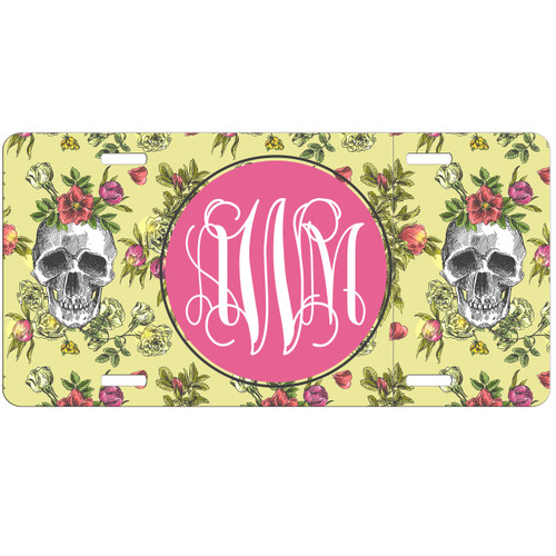 Floral Skulls License Plate, Custom License Plate, Personalized License Plate