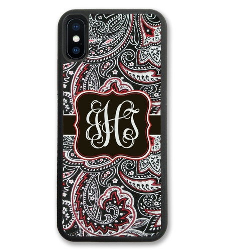 iPhone Case - Black Red Paisley