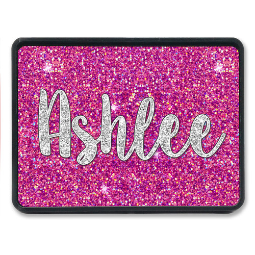 Monogrammed Trailer Hitch Cover - Hot Pink Silver Glitter