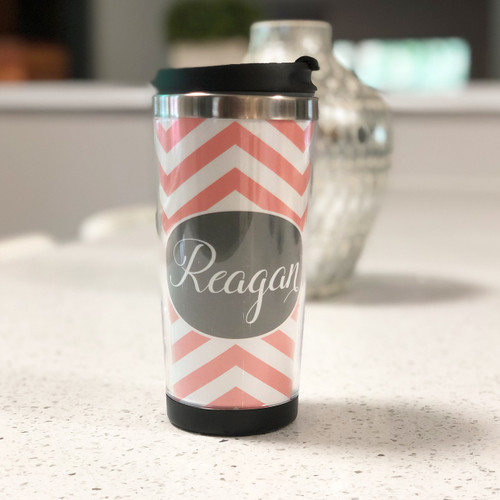 Personalized Tumbler - Pink Chevrons - Monogrammed - Stainless Steel Tumbler