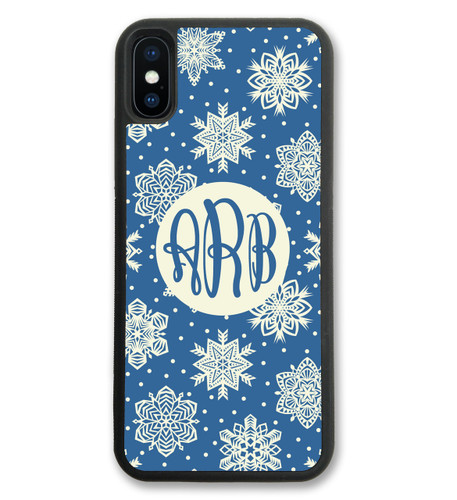 iPhone Case - Holiday Christmas Blue Snowflakes