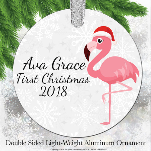 Baby's First Christmas Ornament Pink Flamingo - Double Sided Aluminum