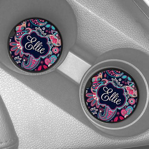 Car Coaster, Car Accessories for Her, Pink Black Paisley Auto Coaster, Coaster, Cup Holder Coaster, Gift For Her
