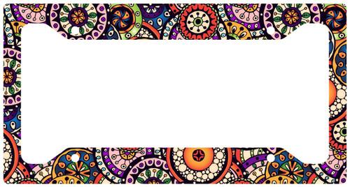 Car Tag Frame, Retro Floral Auto License Plate Frame, License Plate Cover