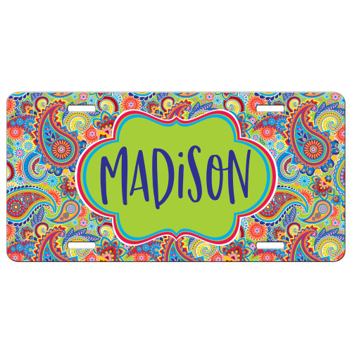 Lime Green Paisley Floral Front License Plate, Custom License Plate, Personalized License Plate