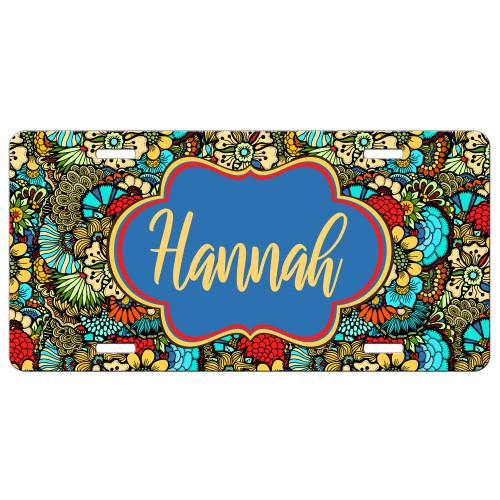 Floral Doodle Front License Plate, Custom License Plate, Personalized License Plate