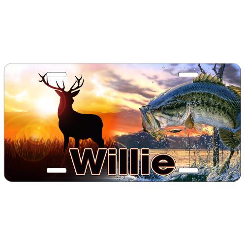 Hunting Fishing Deer Bass License Plate, Custom License Plate, Personalized License Plate Gift for Him