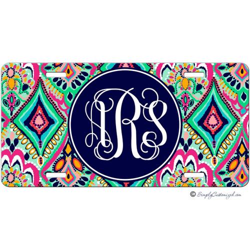 Colorful Floral Jewels Monogram License Plate