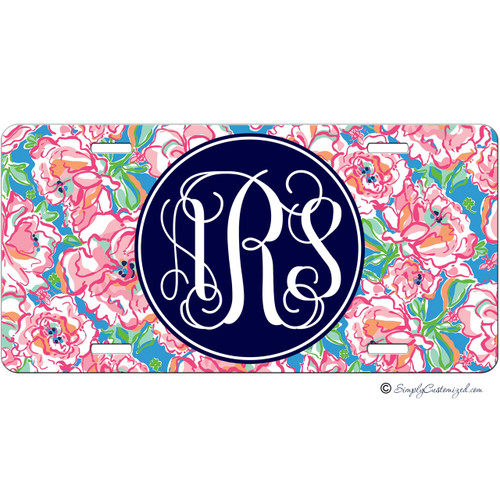 Monogrammed Car Tag - Flowers and Bees Floral