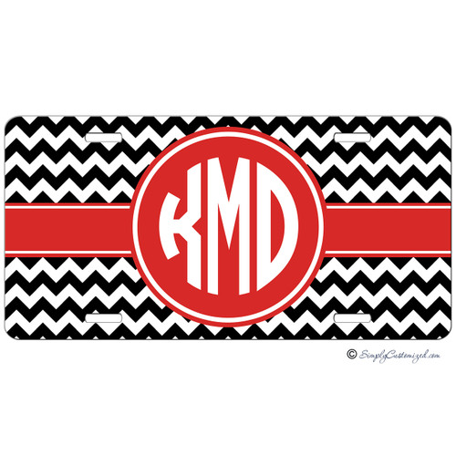Black Chevron Red Monogram License Plate
