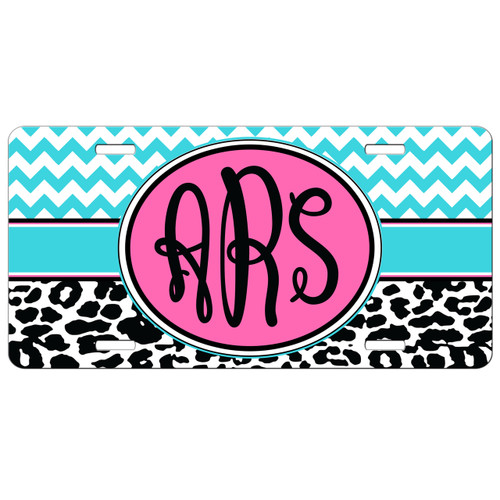 Chevron Cheetah Print Monogram License Plate