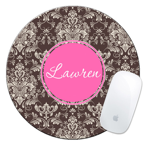 Monogrammed Mouse Pad Brown Damask With Pink