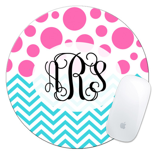 Monogrammed Mouse Pad Dots Chevron