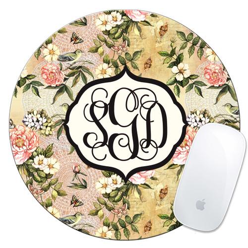 Monogrammed Mouse Pad Vintage Floral