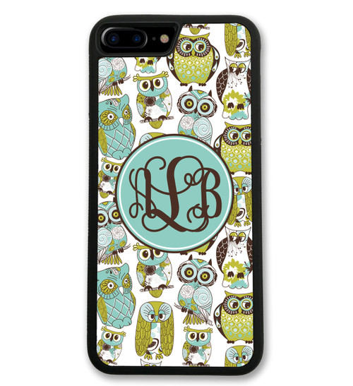 Blue Green Owls iPhone Case Monogrammed