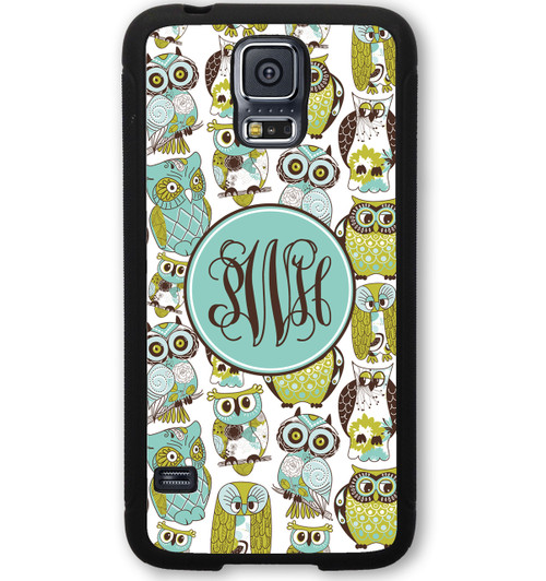 Monogrammed Samsung Case - Blue Green Owls