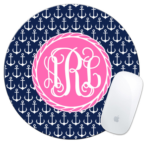 Monogrammed Anchors Mouse Pad Anchors