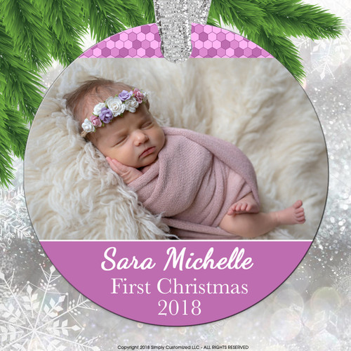 Baby's First Christmas Ornament Photo Stats - Pink Baby Girl Personalized - Double Sided Aluminum