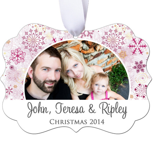 Personalized Photo Christmas Ornament - Pink Snowflake - Double Sided - Aluminum