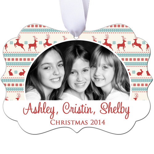 Personalized Photo Christmas Ornament - Reindeer - Double Sided - Aluminum