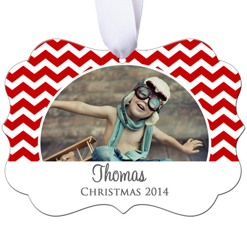 Personalized Photo Christmas Ornament - Chevron Design - Double Sided - Aluminum