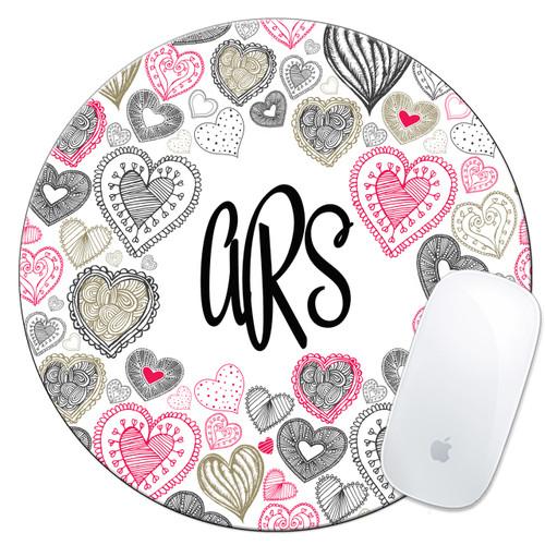 Monogrammed Mouse Pad Hearts Boho Cute