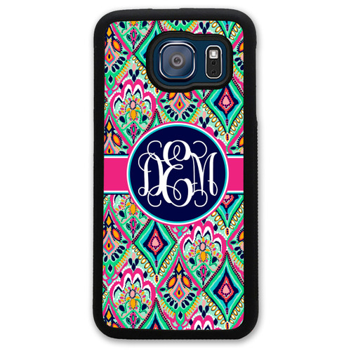 Monogrammed Samsung Case - Pretty Floral Jewels Colorful Navy